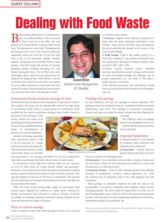 Food wastage- My article in Hospitality Biz of Dec 16