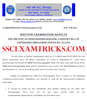 RRB STENOGRAPHER RESULT 2015