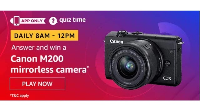 Amazon Quiz Answers For Today 28th April 2020 - Win Canon M200 Mirrorless Camera