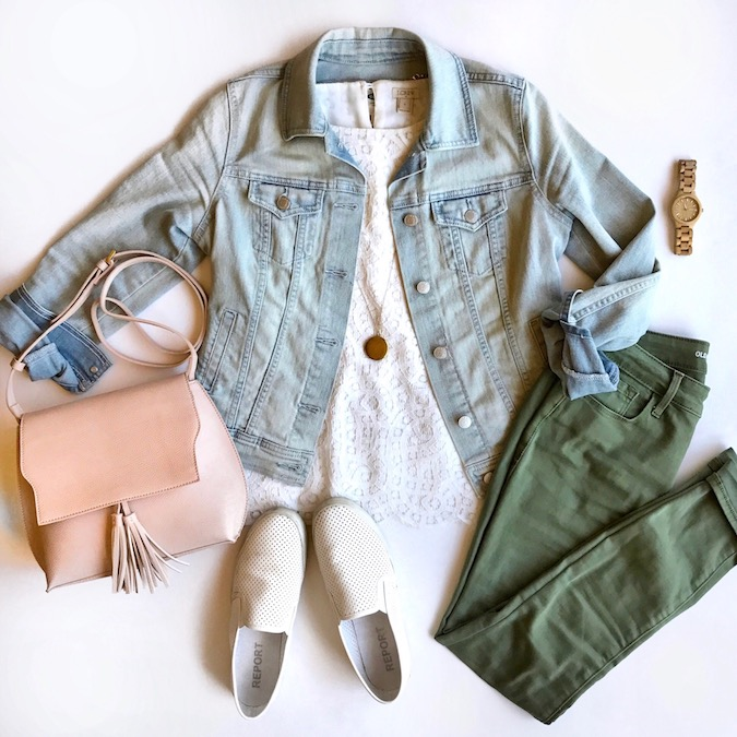 olive jeans + lace top + denim jacket + white sneakers