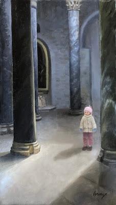 interior genre, church interior, light in church, original oil painting