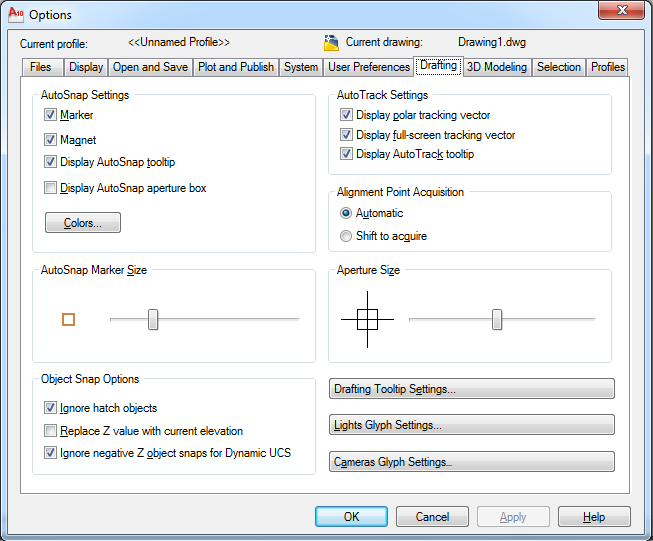 Thẻ Drafting trong autocad