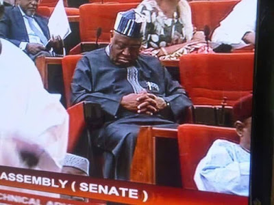 LOLZ!! Senator Barnabas Gemade spotted hard at work in the National Assembly (Photo)