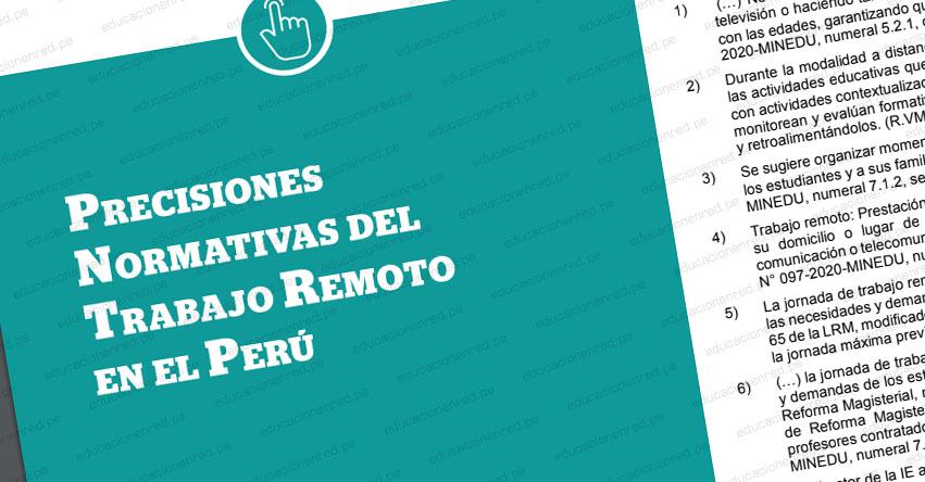 Algunas Precisiones Normativas del Trabajo Remoto en el Perú