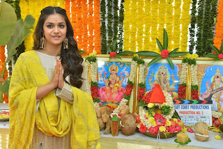 Keerthy Suresh in Yellow Dress With Cute and Lovely Smile for New Movie Launch 1