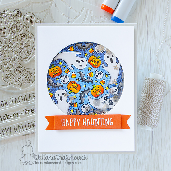 Happy Haunting Halloween Card by Tatiana Trafimovich | Spooky Roundabout Stamp Set and Banner Trio Die Set by Newton's Nook Designs #newtonsnook #handmade