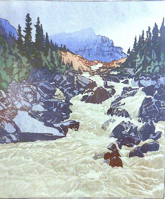 a Walter Joseph Phillips print of a rocky river, Canada