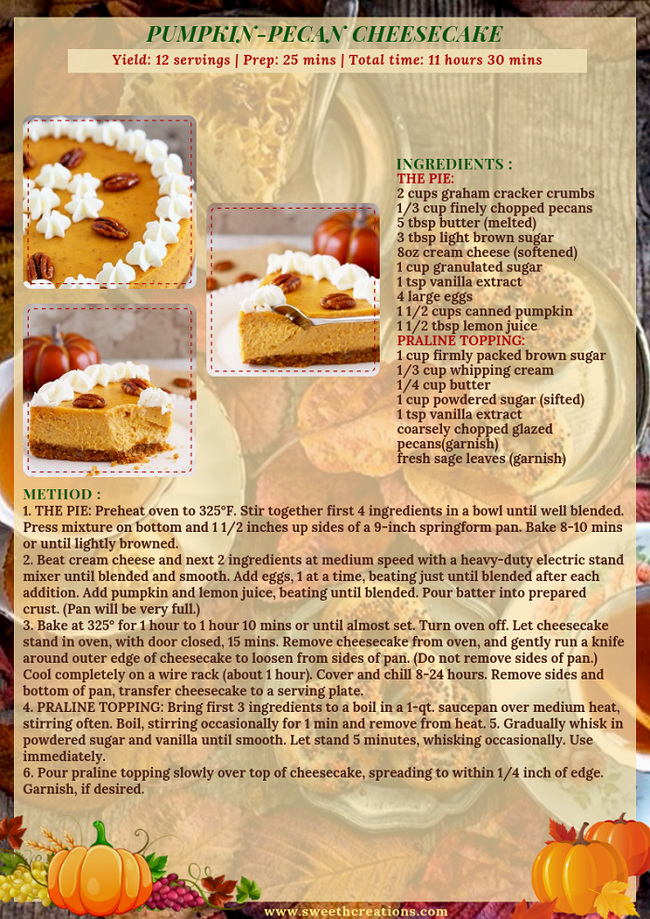 PUMPKIN-PECAN CHEESECAKE RECIPE