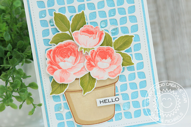 Sunny Studio Stamps: Potted Rose Frilly Frame Dies Everything's Rosy Everyday Card by Juliana Michaels