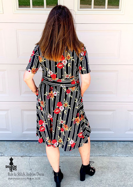 Itch to Stitch Antrim Dress in striped DBL knit back view worn by sharon sews