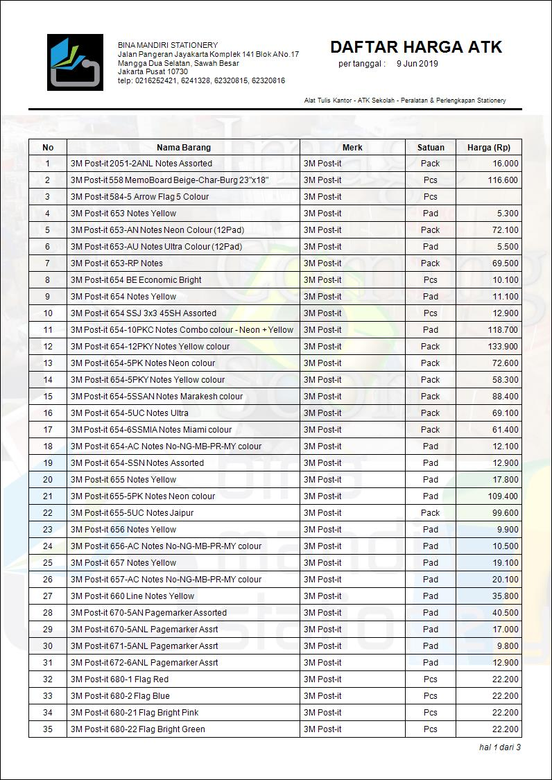 Daftar Harga Alat Tulis 3M Post-it Terbaru Juni 2019 | Bina Mandiri Stationery