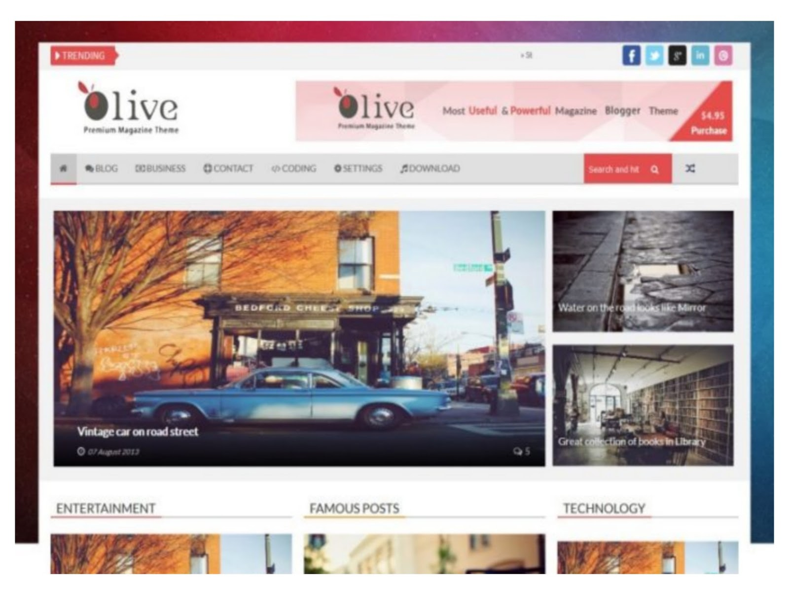 Olive News Blogger Template