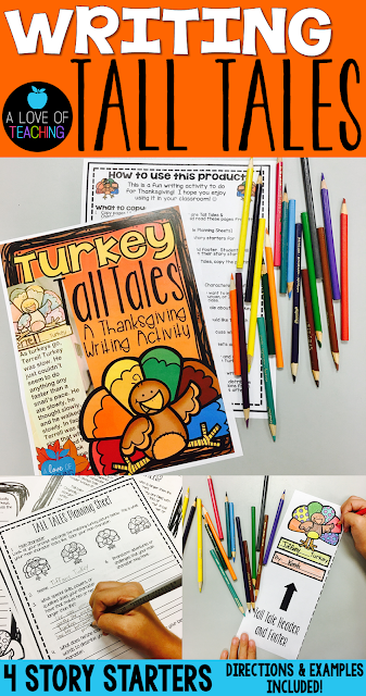 A Thanksgiving writing lesson on Tall Tales. The perfect addition to any November writing unit for teachers.