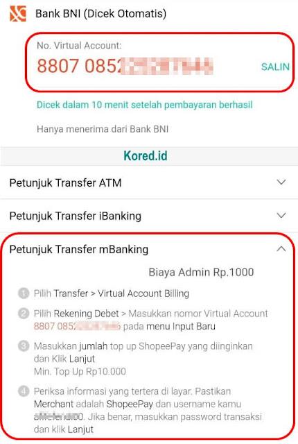 Isi Saldo ShopeePay Lewat m Banking BNI
