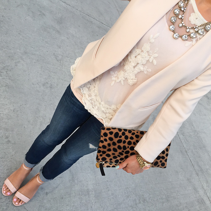 BP luminate blush nude sandals Clare V leopard flat clutch Forever 21 embroidered mesh top, Loft Cast Crystal Multi Strand Necklace, Loft petite modern distressed jeans Topshop petite molly nude blazer