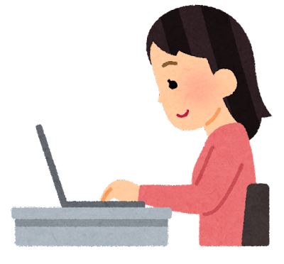 ノートパソコンを使う女性のイラスト(横向き)