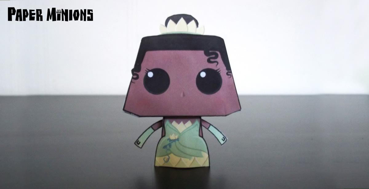 Papercraft imprimible y armable de la Princesa Tiana. Manualidades a Raudales.