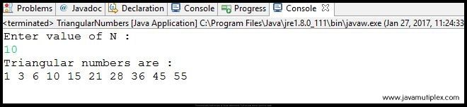 Output of Java program that generates first n triangular numbers.