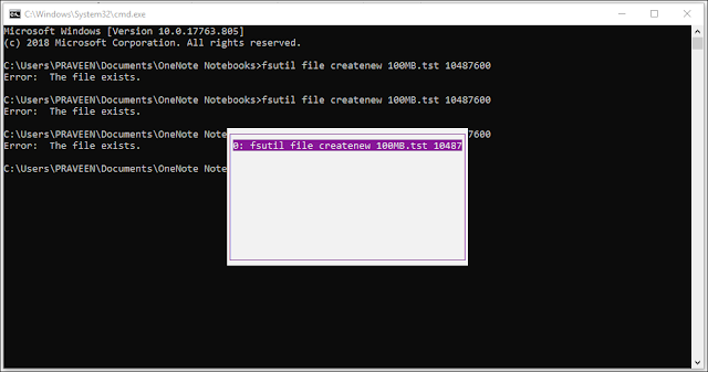 Quickly access the past commands of command prompt