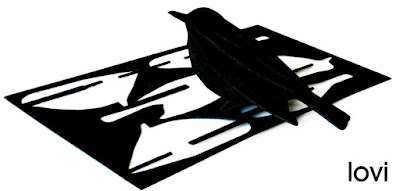 Wooden Cutout Black Bird Postcard