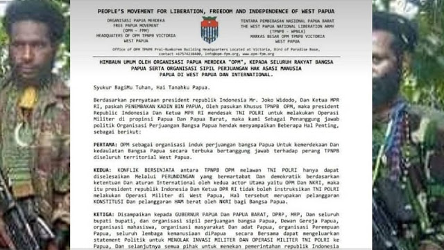Beredar Surat OPM Minta Berunding usai Presiden Jokowi Minta KKB Penembak Kabinda Papua Diburu