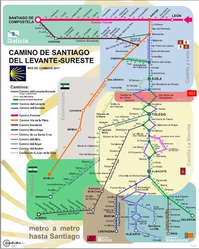 MAPA DE METRO DE LOS CAMINOS DE SANTIAGO