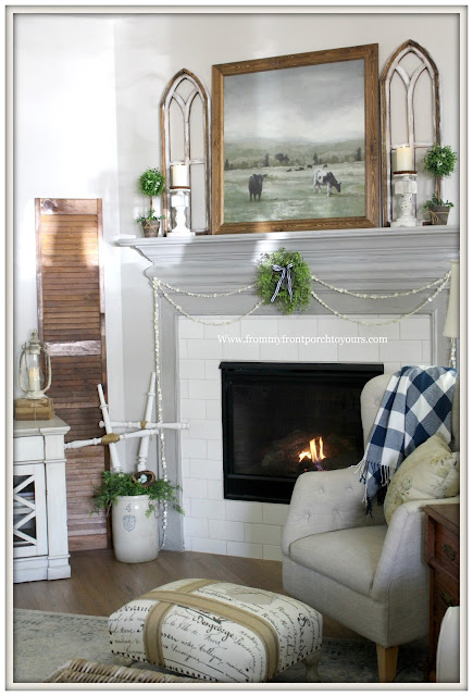 French Country Farmhouse Fireplace-DIY Decor-Framed Cow Artwork-Mini Wreath-Fireplace Decor-French Farmhouse-Button garland-Buffalo Check-From My Front Porch To Yours