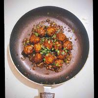 Prepared veg Manchurian dry in a pan