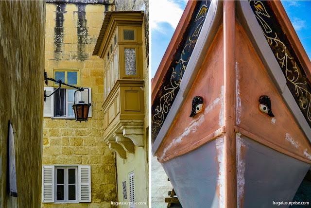 """Malta: uma rua da cidade amuralhada de Mdina, primeira capital do país, e """"Olhos de Hórus"""" na proa de um luzzu, embarcação típica maltesa"""