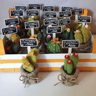 bomboniere comunione cactus crochet