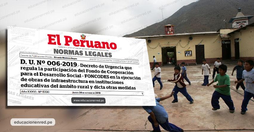 MINEDU: Destinan S/ 137 millones para obras en 30 colegios de zonas rurales (D. U. Nº 006-2019) www.minedu.gob.pe