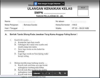 UKK Bahasa Sunda Kelas 8 Kurikulum 2013