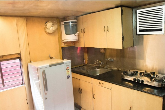 Indian Railways saloon coach -  Kitchen