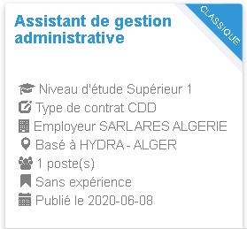 Assistant de gestion administrative HYDRA - ALGER
