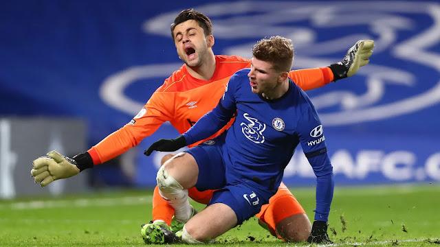 Chelsea forward Timo Werner and West Ham goal Keeper Lukas Fabianski