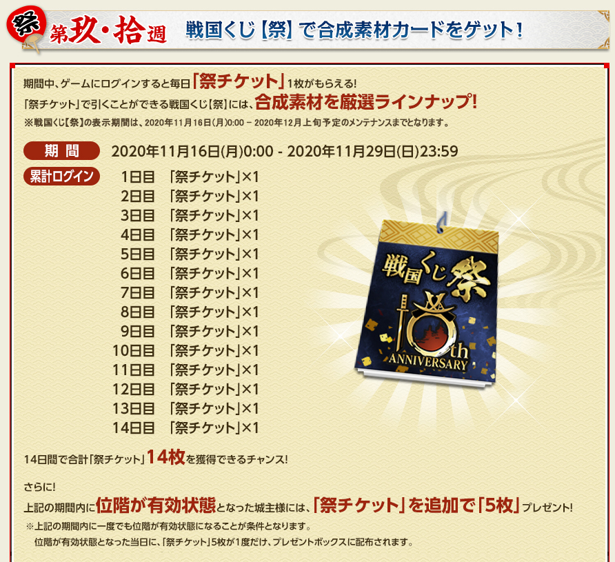 10周年祭りくじ24連