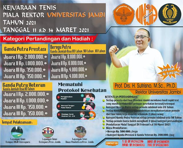 Turnamen Tenis Piala Rektor Universitas Jambi Tahun 2021