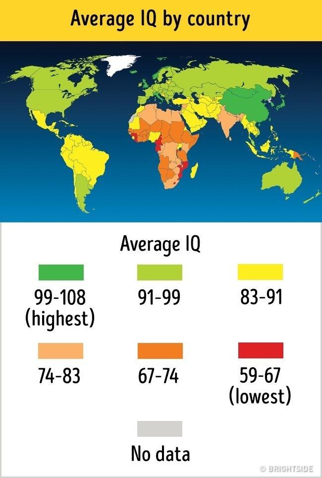 Bản đồ chỉ số IQ trên thế giới