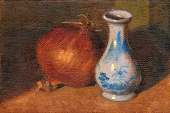 Oil painting of a brown onion beside a white miniature vase with a blue pattern.