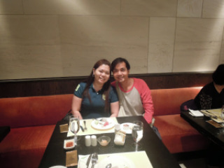 A couple travel bloger eating lunch buffet at Bambu Restaurant at The Venetian Hotel Macao