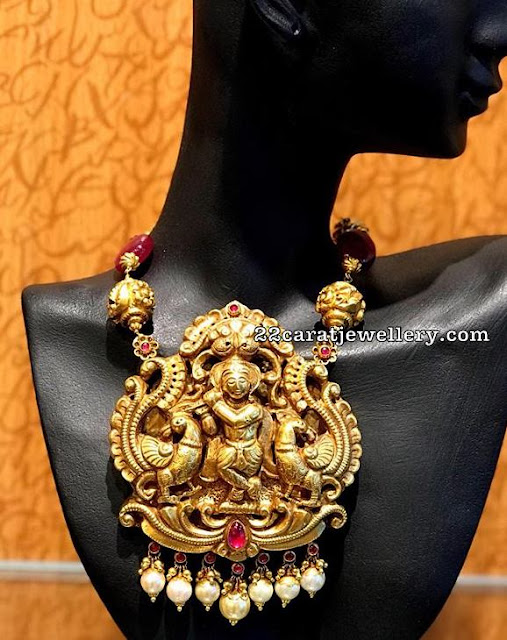 Ruby Drops Set Krishna Peacock Pendant