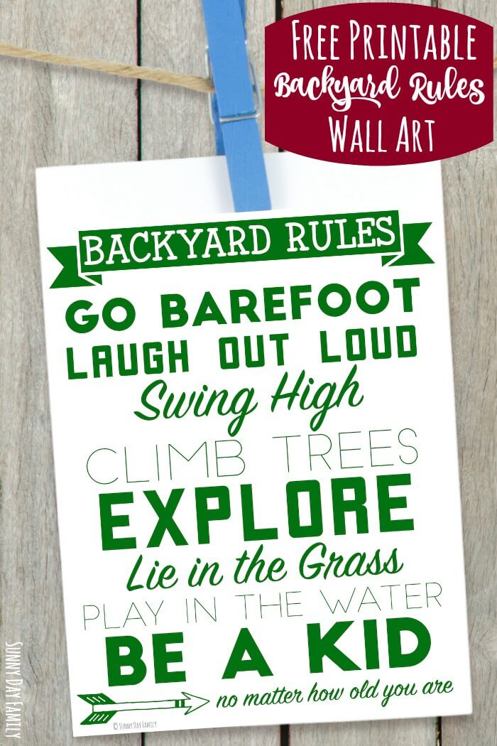 Free printable wall art celebrating backyard fun! Perfect for families, this printable wall art shows everything we love about playing in our backyard. Perfect for summer outdoor decorating!