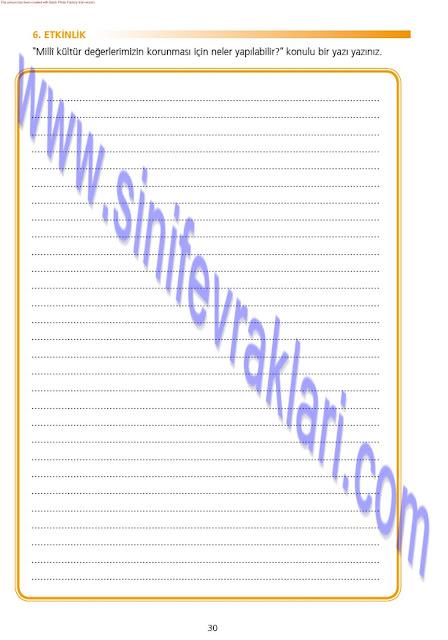 7. Sınıf Ezde Yayınları Türkçe Çalışma Kitabı Cevapları Sayfa 30