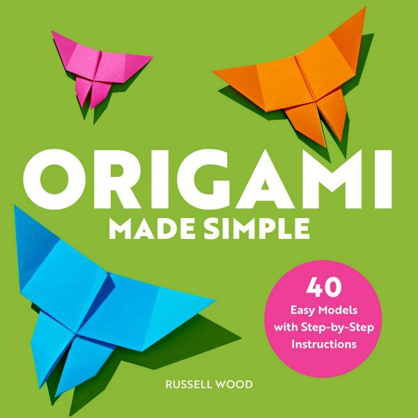 Origami Made Simple book cover features three folded paper butterflies