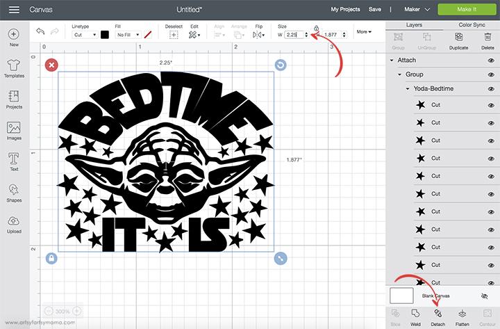 Resize Yoda Cut File in Design Space