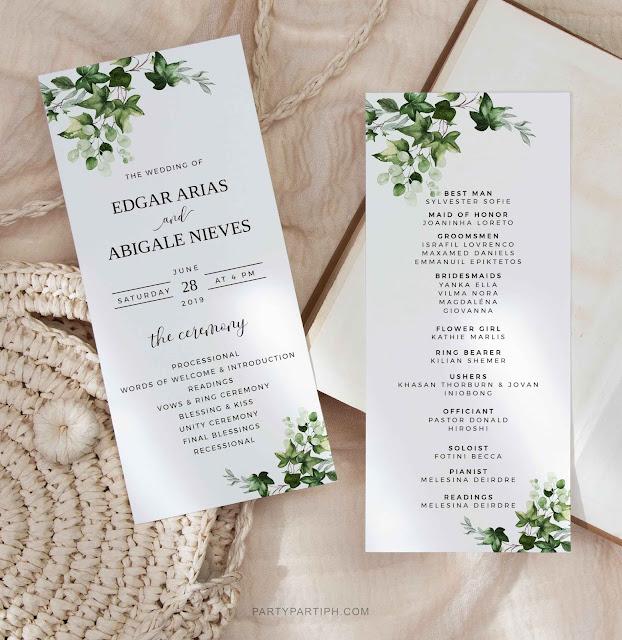 ivy greenery wedding program cards