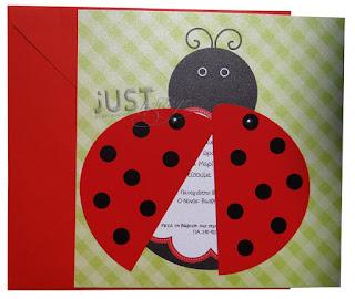 baptism invitations ladybug themed