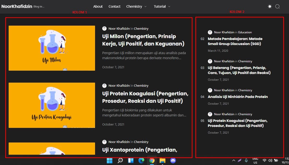 Template blogger dengan dua kolom