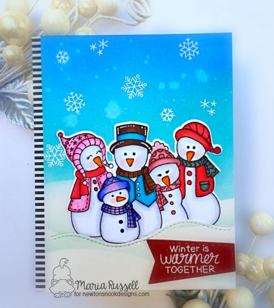 Snowman Card by Maria Russell | Frosty Folks Stamp Set by Newton's Nook Designs #newtonsnook #handmade