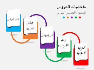 ملخصات المستوى الخامس لجميع المواد برابط مباشر